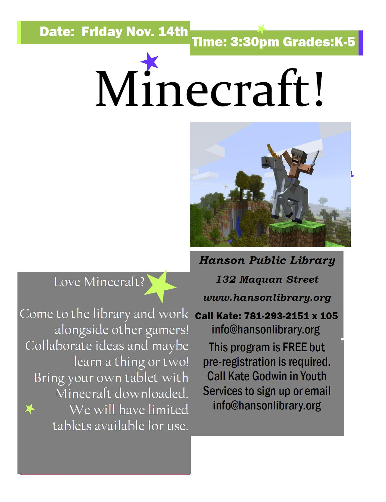 Minecraft program at the library