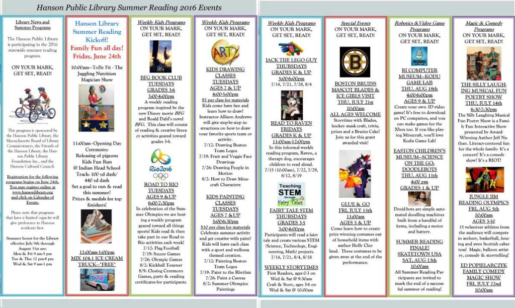 Summer Reading Newsletter 2016