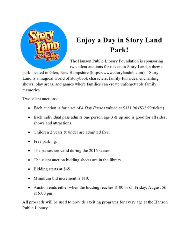 Story Land silent auction