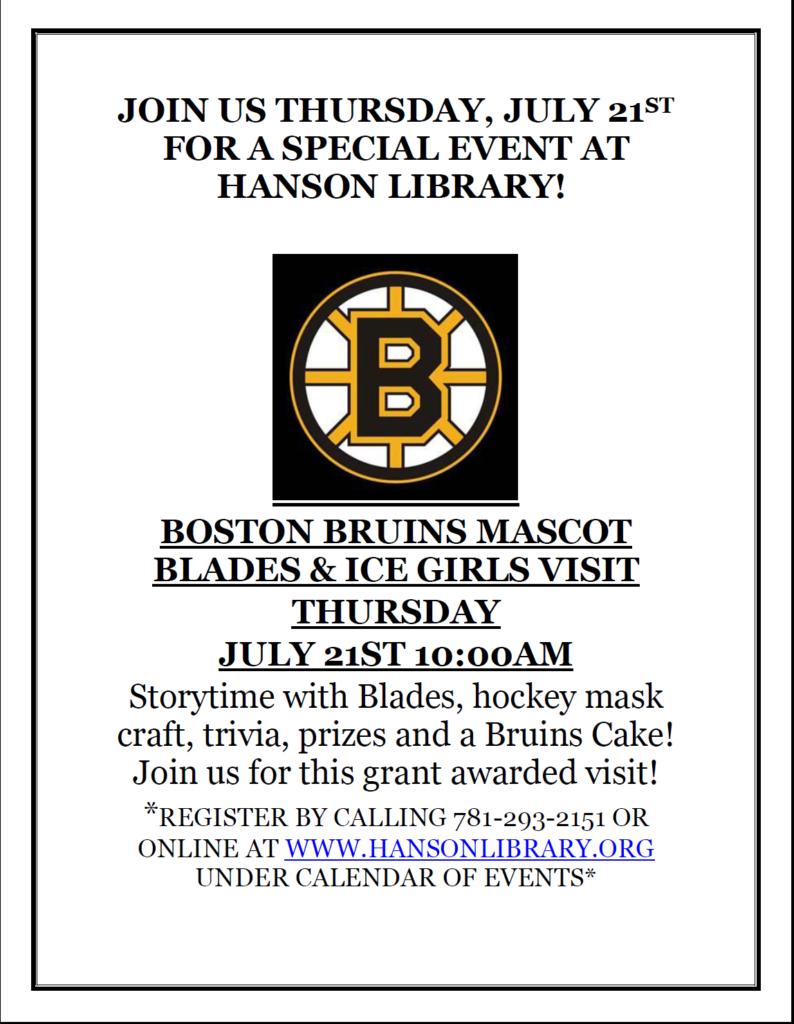 Bruins Mascot Visits Hanson Library