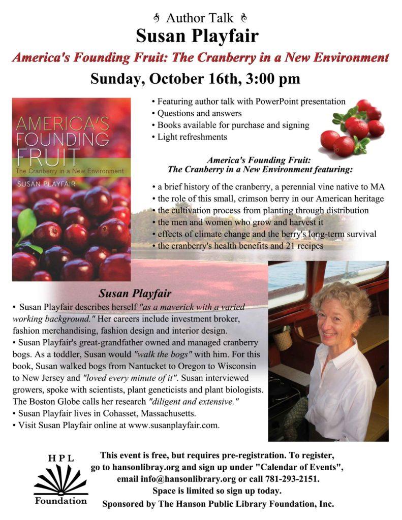 Susan Playfair Author Talk about the cranberry